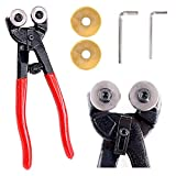Swpeet 5Pcs Heavy Duty Glass Mosaic Cutter Kit, 8 Inch Wheeled Glass Nipper Pliers Tool with 2Pcs Replacement Blade and 2Pcs Allen Wrench