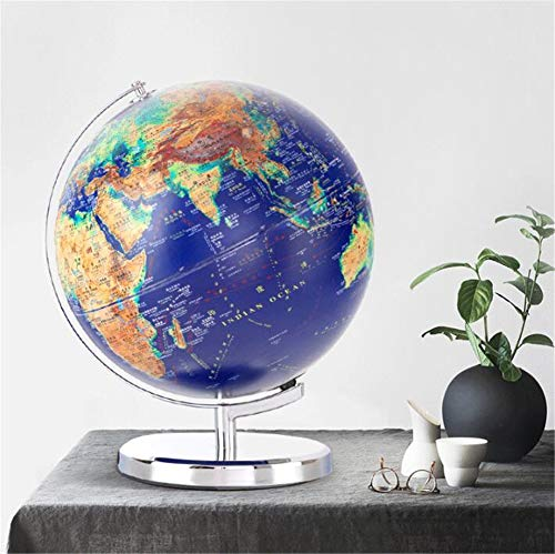 XHJZ-W Beleuchteter Globus mit Sockel, 12,6-Zoll-Weltkugel mit 360 ° -Drehung, eingebautes LED-Licht mit Weltkarte und Konstellationsansicht