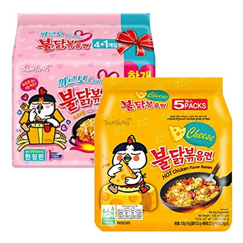 Samyang Chicken Fried Noodles (20 Packs 10x Carbo & 10x Cheese) Hot Fusion Select