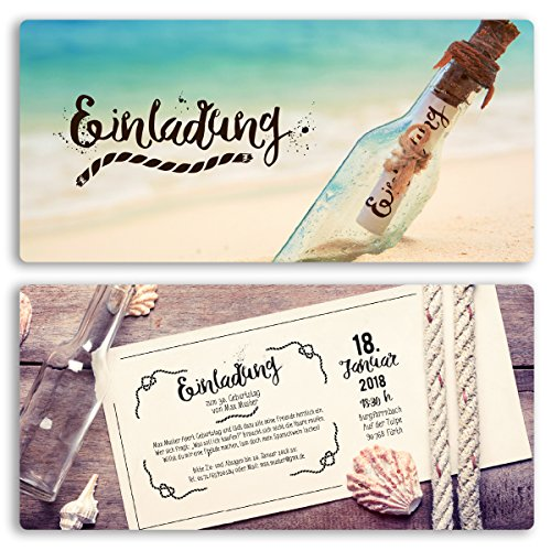 (40 x) Einladungskarten Geburtstag Flaschenpost Strand Meer Vintage Einladungen