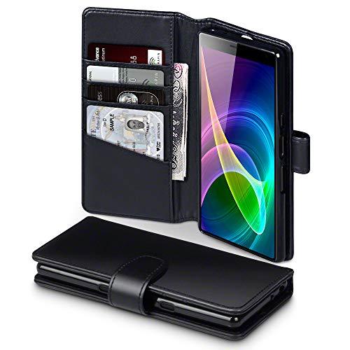 TERRAPIN Custodia Sony Xperia 10, Vera Pelle della Cassa del Raccoglitore con Funzione di Appoggio Posteriore per Sony Xperia 10 Cover Pelle, Colore: Nero