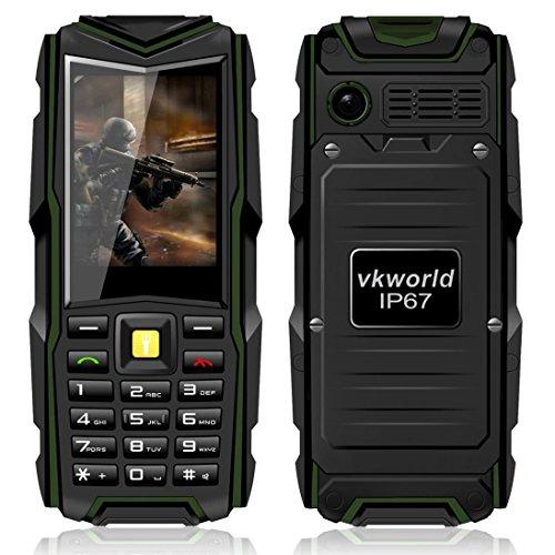 VKworld Pietra V3 IP67 Impermeabile Antiurto Antipolvere Cellulare Power Bank Lungo Standby All'Aperto Esercito 5200mAh 64MB di RAM + 64MB ROM GSM Rete - Verde