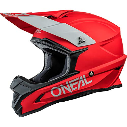 O'NEAL | Motocross-Helm | MX Enduro Motorrad | ABS-Schale, Sicherheitsnorm ECE 22.05, Lüftungsöffnungen für optimale Belüftung und Kühlung | 1SRS Helmet Solid | Erwachsene | Rot | Größe L