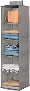 Hanging Closet Organizer,Sweater & sock Organizer with a Hook and Loops,Collapsible Storage Shelves for Clothes, pants and Shoes (Grey-5 Shelf)