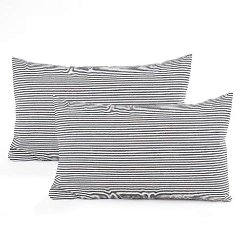 COMHO Pack of 2, Cotton Woven Striped Lumbar Throw Pillow Covers Set, Nautical Decorative Cushion Covers, Farmhouse Pillowcases, for Sofa Bedroom Car Chair 12x20 Inch/30x50 cm (Black)
