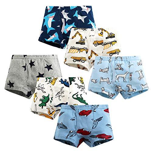 Ecloud Shop 6 Stück Kinder Jungen Boxershorts Baumwolle Cartoon-Muster Unterwäsche für Jungen Slips Komfort und weich Kinderunterwäsche (Höhe:140 cm)