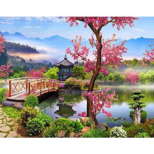 5D DIY diamante pintura paisaje jardín chino arquitectura bordado conjunto mosaico arte pintura A7 45x60cm