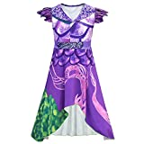 MSSmile Dragon Mal Fancy Dress Girls Decendents 3 Costumes Audrey Halloween Costume for Kids Halloween Cosplay (110cm(Height:39-43 inch), Purple)
