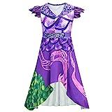 Photo de Mal Dress Costume Descendants 3 pour Les Filles des Femmes, Robe de Dragon Violet et Vert avec des Ailes Halloween Costumes par