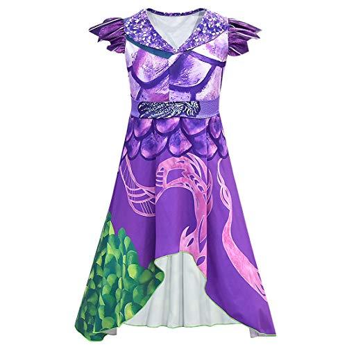 Mal Dress Descendientes 3 para niñas, Mujeres, Vestido de dragón Morado y Verde con alas Disfraces de Halloween