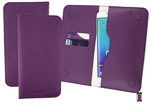 Emartbuy® Lila Strukturierter PU Leder Magnetisch Schlank Brieftasche Tasche sleeve Halter ( Größe 3XL ) Geeignet Für Slok D1 Dual Sim Smartphone