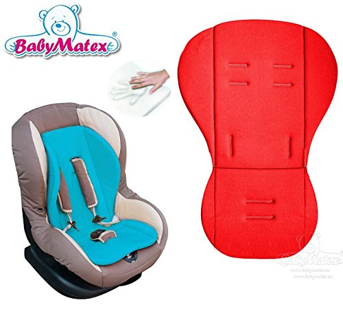 BabyMatex **RENIS ROUGE** Coussin d'assise MEMORY FOAM ** Thermoactif et innovativ ** pour poussette, siège auto, coque bébé, nacelle (p.e. Maxi Cosi Römer Cybex et autre)