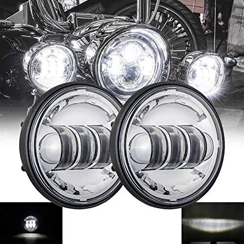 SKUNTUANG 1 Pair 4.5 Inch Fog Light Passing Lamps DRL bulb for Har-ley David-son Daymarker Harley Fog Lamp (Silver Fog Light)