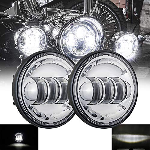 SKUNTUANG 1 Pair 4.5 Inch Fog Light Passing Lamps DRL bulb for Har-ley David-son Daymarker Harley Fog Lamp (Silver Fog Light)