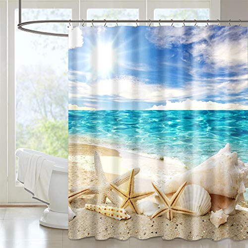 Supzone Shower Curtain Beach Waterproof Fabric Starfish Shell Style Curtains Polyester Decorative Bathroom Curtain with Hooks 72' X 72'