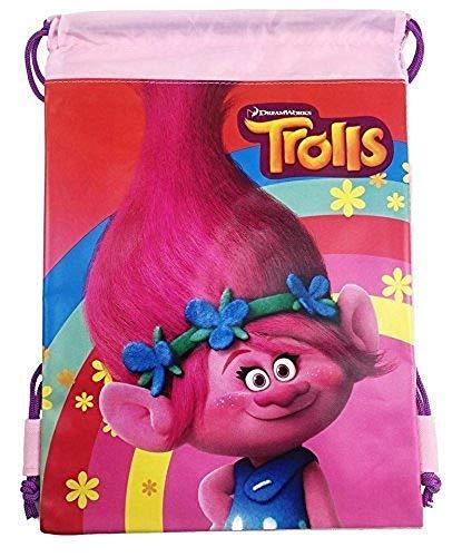 "DREAMWORKS TROLLS The Movie Poppy 10"" X 14"" Drawstring Backpack Heavy Duty Nylon Tote Bag Color (Black Kylos) (Light Pink)"