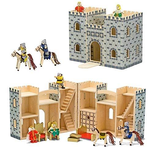 Melissa and Doug - Jouet Château Fort en Bois avec Figurines et Meubles 12 pièces Enfants 3 Ans +