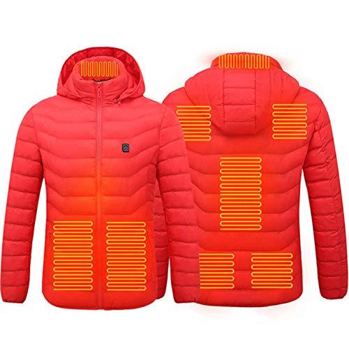 Chaqueta calefactora para invierno al aire libre, cubierta de calefacción eléctrica, 8 piezas, almohadilla de terapia de calefacción para trabajo al aire libre, esquí, senderismo, rojo, XXL