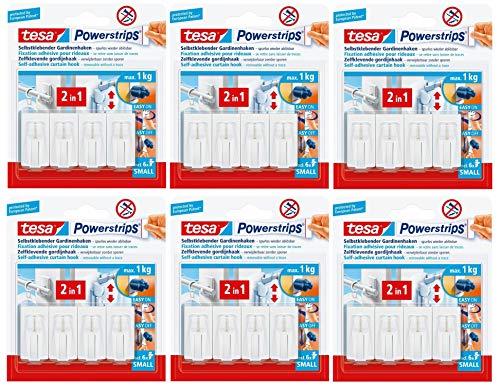 tesa Powerstrips Gardinenhaken, selbstklebend, weiß, 24 Stück (weiß Großpack)