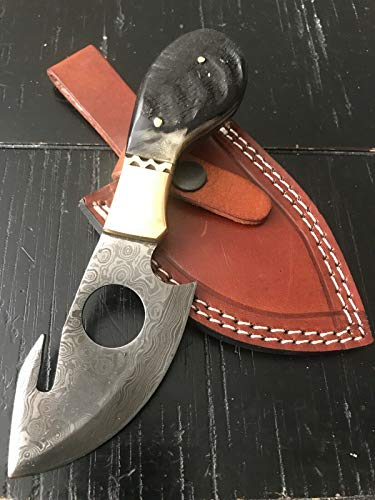 """Damascus 7"""" Custom Made Tactical Knife 100% Steel Hunting Knife Without Handle & with Ram Horn,Camel Bone,Stag Handle Plus Leather Sheath, Best for Hunting, Camping (Ram Horn Handle)"""