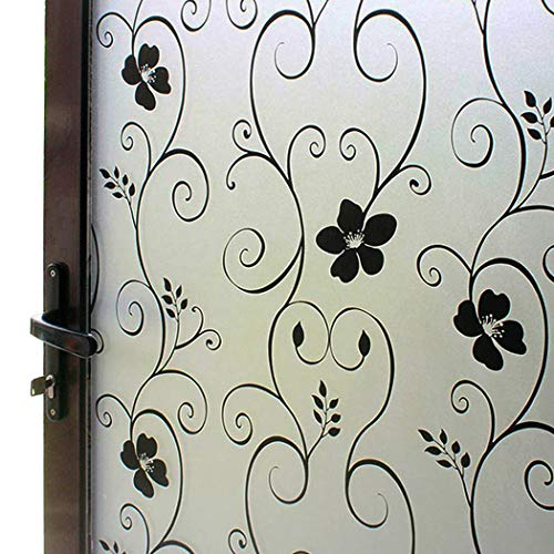 DUOFIRE Window Film Privacy Window Film Frosted Glass Film No Glue Static Cling Glass Film Anti-UV Window Sticker for Bathroom Bedroom Living Room (Black Flower-DP014B, 35.4in. x 78.7in.)