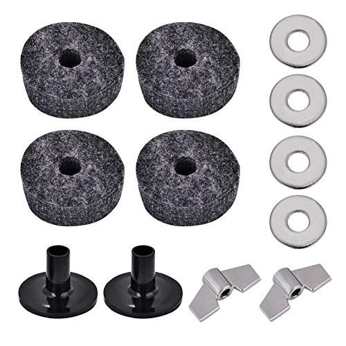 Los accesorios de repuesto para platillos de 12 piezas incluyen tuercas de mariposa, arandelas, fundas para platillos y almohadillas de fieltro para platillos de tambor