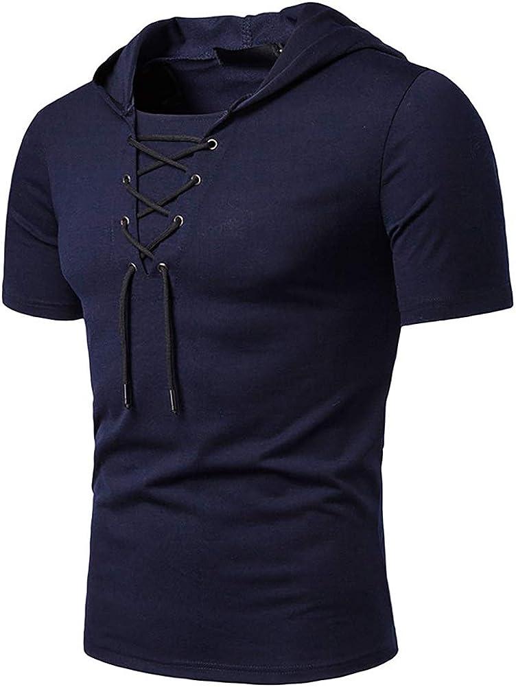 Rela Bota Mens Hoodie Shirts - Casual Short Sweatshirts Henley T Shirt Dark Blue