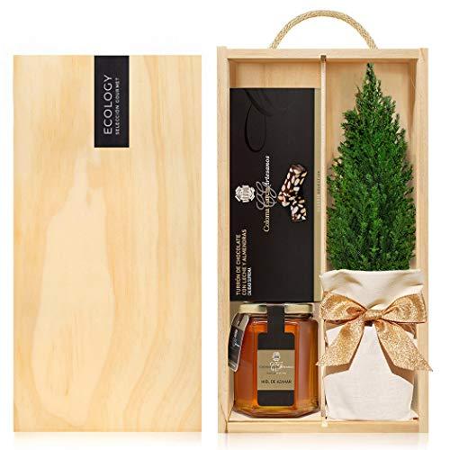 Lote Gourmet Regalo Navidad Estels con arbolito navideño, miel de azahar artesanal, turrón de chocolate con almendras, turrón de yema tostada entregado en caja de madera con tapa y asa