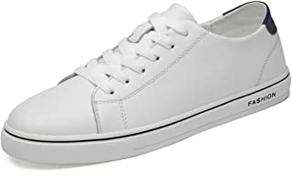 RongAi Chen Fashion Sneaker for Men Athletic Shoes Lace Up Style Genuine Leather Breathable Pure Color Outdoor Leisure (Color : White, Size : 7 UK)