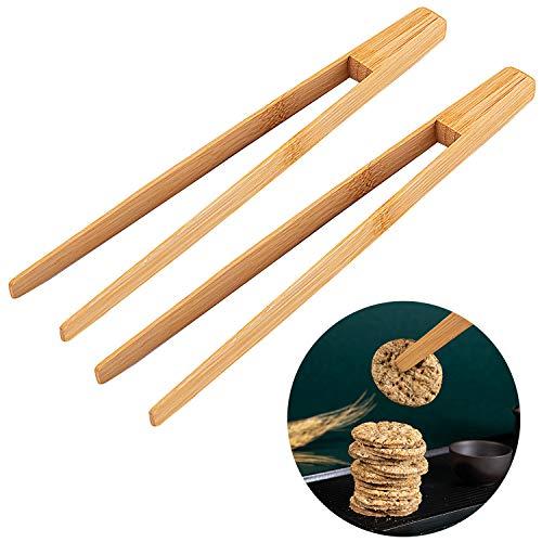 Bligo 2 Stück Bambuszange, Holz Toastzange Bambus Küchenzange, Wiederverwendbar Bambus-Zange für Kochen, Backen Brot, Salat, Grill, Gurken