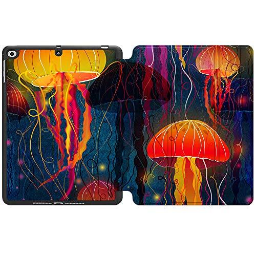SDH Funda para iPad de 9,7 pulgadas 2018 2017,iPad Air 1 / iPad Air 2 Smart Cover Folio Stand Protector para Apple iPad 5ª 6ª generación (A1822/A1823/A1893/A1954), medusas abstractas 3