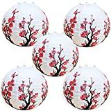 Smeiker Chinese Japanese Red Cherry Flowers (5 Pack 12' Diameter) White Round Chinese Japanese Paper Lamp for Shade Chinese Oriental Style Light Restaurant Wedding Party Home Decor Gifts