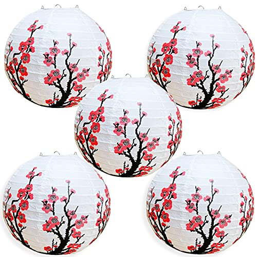 Smeiker Chinese Japanese Red Cherry Flowers (5 Pack 12 Diameter) White Round Chinese Japanese Paper Lamp for Shade Chinese Oriental Style Light Restaurant Wedding Party Home Decor Gifts