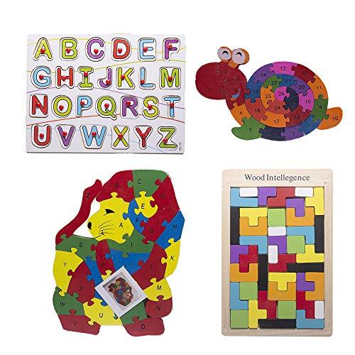 Desconocido Byoeko Set de 4 Juguetes educativos de Madera para niños (Puzzle León y Caracol, Tablero de Aprendizaje con Alfabeto, Puzzle geometrico para Hacer Figuras)