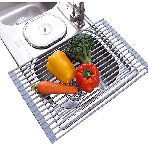WXX Zusammenklappbar Geschirrabtropfgestell Edelstahl Abtropfgestell Zum Aufstellen Über Der Spüle Hitzebeständige Mehrzweckmatte Geschirrtrockner Für Obst Gemüseplatte,S