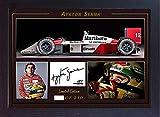 SGH SERVICES Nouveau! Poster encadré Ayrton Senna Photo dédicacée pré-imprimée F1 McLaren Honda Champion du Monde McLaren Honda Cadre MDF