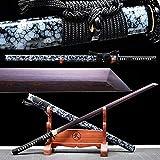 VARWANEO Handmade Japanese Samurai Straight Knife Saber High Temperature Folded Forging Red Damascus Steel Blade Sharp Ninja Dao Sword Katana