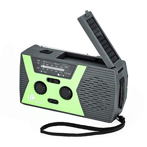 GREATONE Weather Radio Emergency Solar Crank Radio with Flashlight and Reading Lamp,Portable Camping AM FM NOAA Weather Radio,2000mAh Power Bank and SOS Alarm018WB (Green)