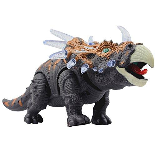 Yier® Elektronisches Spielzeug Grau Triceratops Dinosaurier Gehen