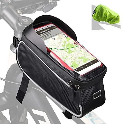 Tricodale Borsa Telaio Bici, Borsa Manubrio Bici 6.3' Impermeabile Borsa Porta Telefono Bicicletta Supporto Bici Decathlon/MTB/BMX, Accessori Bici Corsa - Nero