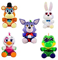 """FUNKO Plush: Five Nights at Freddy's - Security Breach Set of 5 - Vannie, Glamrock Freddy, Glamrock Chica, Montgomery Gator, Roxanne Wolf 6"""" Plush Bundle Plush are approximately 6 inches tall."""