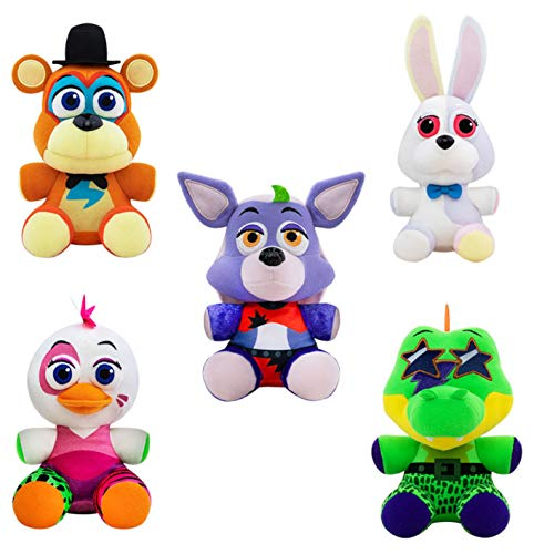 Funko Plush: Five Nights at Freddy's - Security Breach Set of 5 - Vannie, Glamrock Freddy, Glamrock Chica, Montgomery Gator, Roxanne Wolf - FNAF 6' Plush Bundle