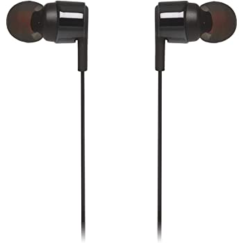 JBL JBLT210BLKAM in-Ear Headphone with One-Button Remote/Mic, Black
