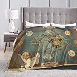 Avatar The Last Airbender Map Fleece Blanket Ultra-Soft Micro Light Weight Warm Throw Blanket (Black, 60'x80')