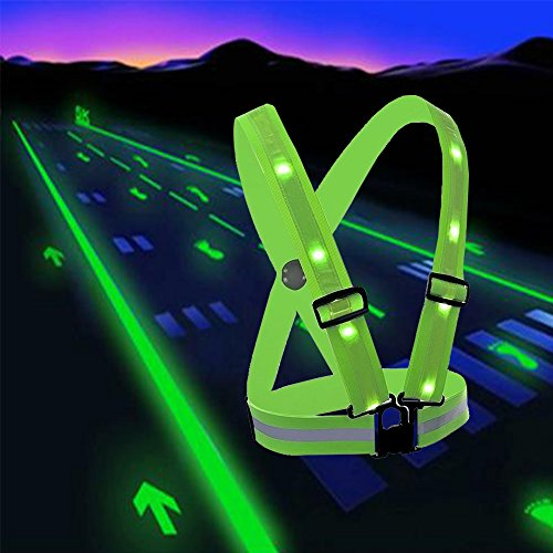 LED Reflective Safety Vest with Storage Pouch - USB Charging Elastic and Adjustable Reflective Running Gear for Outdoor Sports Dog Walking Cycling Motorcycle - LED Glowing Reflector Straps (Green)