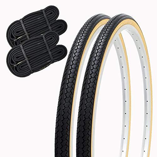 SHINKO(シンコー) 自転車 タイヤ 27インチ チューブ セット ペア 27×1 3/8 WO SR078 DEMING LL (ブラック/ベージュ)