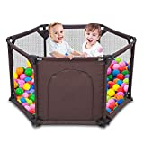 Kids 6-Panel Playard Playpen Portable Washable Aqua Play Center Fence with Breathable Mesh for Babies Toddler Newborn Infant, Indoor and Outdoor Play (Brown)