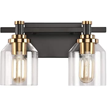 Wall Lights Create For Life 2 Light Bathroom Vanity Light Industrial Wall Sconce Bathroom Lighting Matte Black Finish Gold Accent Socket Clear Glass Shade Tools Home Improvement Bubt Edu Bd