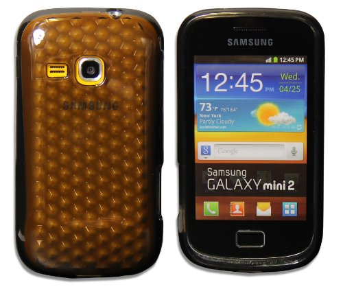 Luxburg® Diamond Design Funda Protectora para Samsung Galaxy Mini 2 GT-S6500 en Color Gris Antracita, Estuche Carcasa de TPU Silikon