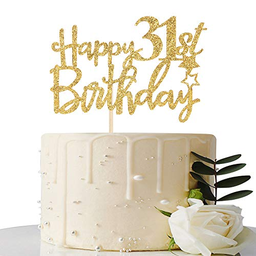 Gold Glitter Happy 31st Birthday Cake Topper - 31 Cake Topper - 31st Birthday Party Supplies - 31st Birthday Party Decorations
